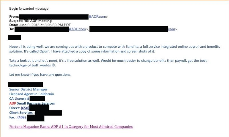 Zenefits ADP LAWSUIT AND LETTER Adam Townsend